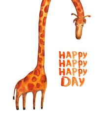 Giraffe. Happy day. Watercolor illustration