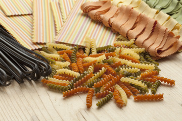 Variety of colorful Italian pasta