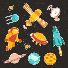 Space ship icons with planets rockets stars and astronaut