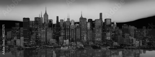 Leinwandbild Motiv Skyscraper City Illustration (Panoramic/Header)