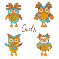 Cute funny owls