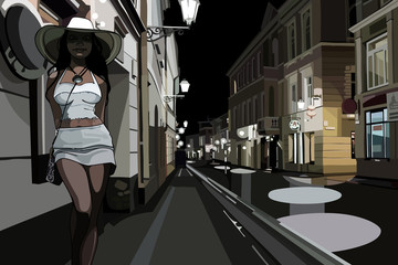 woman on the street in the night city