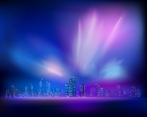 Aurora over the City. Vector illustration