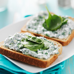 toast with spinach cheese spread on it and leaf garnish