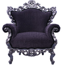 black armchair with carved metal framework on white background