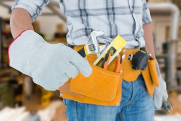 Technician using adjustable wrench