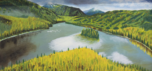 Hills and river, painting