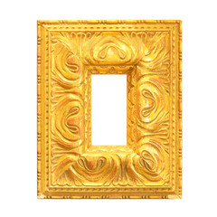 Old gold picture frame isolated on white background