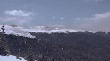 High Elevation Winter Snowy Sunny Mountain Pan