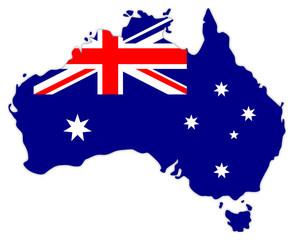 Australienkarte mit Landesflagge