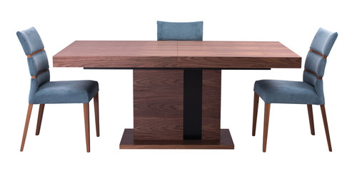 brown and black table with modern blue chairs