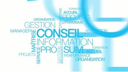Conseil information gestion formation suivi nuage de mots