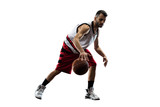 Fototapeta Isolated basketball player in action is flying high