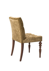 yellow elegant chair with carved wooden legs