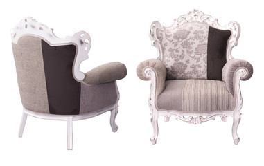 luxurious ivory and brown armchair with white framework