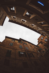 Urban buildings in the city of Siena, Italy