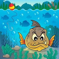 Piranha fish underwater theme 4