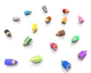 ころがる小さな色鉛筆
