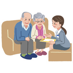 ケアマネージャー 老夫婦 Elderly couple and Geriatric care manager