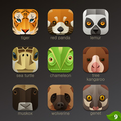 Animal faces for app icons-set 9