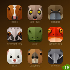 Animal faces for app icons-set 19
