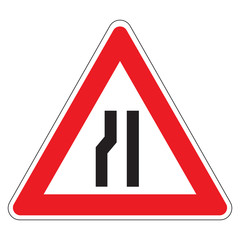 Road narrow sign on the left