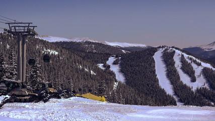Ski Gondola Running Over Ski Runs