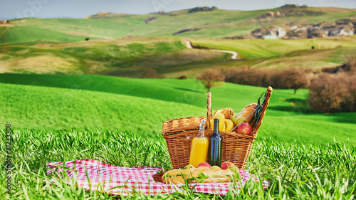 Tuscan picnic on the green spring grass with landscape in the ba - 81233308
