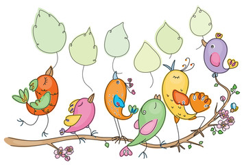 Vector cute birds cartoon holding leaves, place for text spring