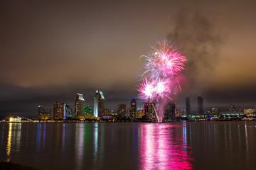 Fireworks over skyline