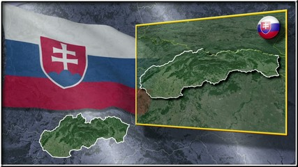Slovakia flag and map animation FULL-HD