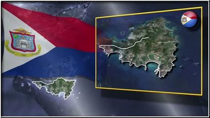 Sint Maarten flag and map animation FULL-HD