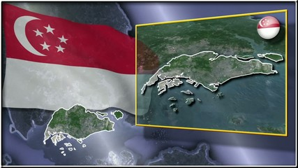Singapore flag and map animation FULL-HD