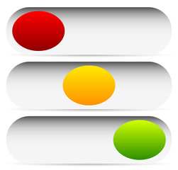 Power buttons, switches with 3 states. Simple UI, interface elem