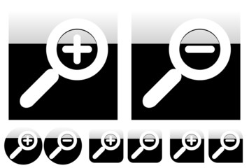 Simple yet stylish magnifying icons with different shapes. Gloss