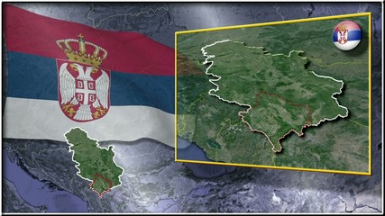 Serbia flag and map animation FULL-HD