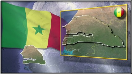 Senegal flag and map animation FULL-HD