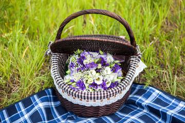 Beautiful wedding bouquet in basket