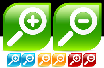 Glossy magnifier Icons in various colors. Magnify. zoom in, zoom