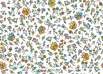 Vector seamless pattern flora, birds and insects.