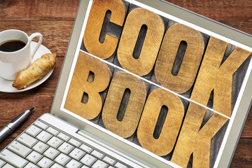 cookbook word abstract on laptop screen