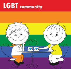 gay couple sitting in a cafe, the LGBT community.