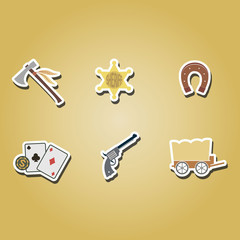 set of color icons withcowboys and wild west theme