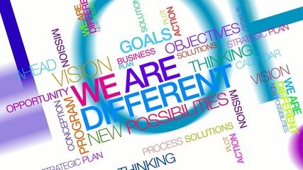 We are different colorful words tag cloud text