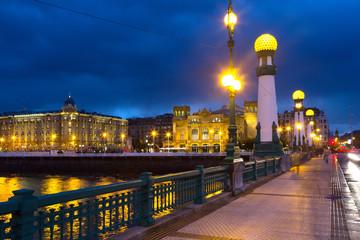 Zurriola  bridge over Urumea river in  night. Donostia