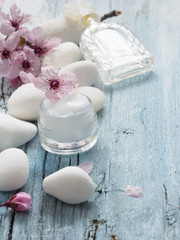 natural facial cream with fresh spring flowers