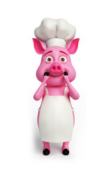3d Pink chef with surprise