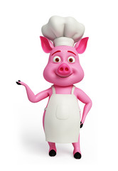 Pink chef with presenting pose