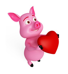 Pink loving pig