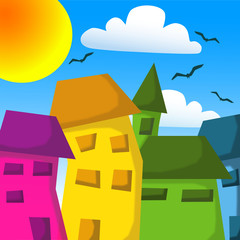 colorful houses in summer